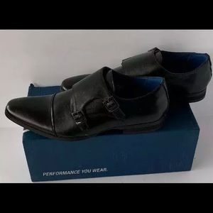 santino luciano Black Double Munk Strap Shoes 12